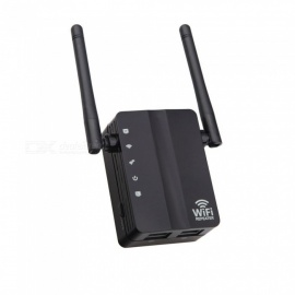 ESAMACT Dual Antenna Dual Network Wifi Signal Amplifier 300M Repeater Wireless Network Router - Black (US Plug)