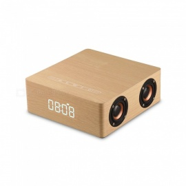Wooden-Bluetooth-Speaker-Solid-Wood-Subwoofer-Sound-of-Nature-Stereo-with-Clock-Alarm-Support-AUX