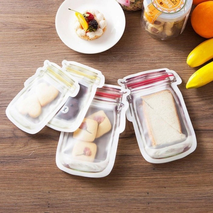 Good Sealing Food Container Fresh Bag Travel Snack Holder for Kid Coffee Plastic Wrap Clear Ziplock Reclosable Food Storage Bags 3pcs 20x12.5cm