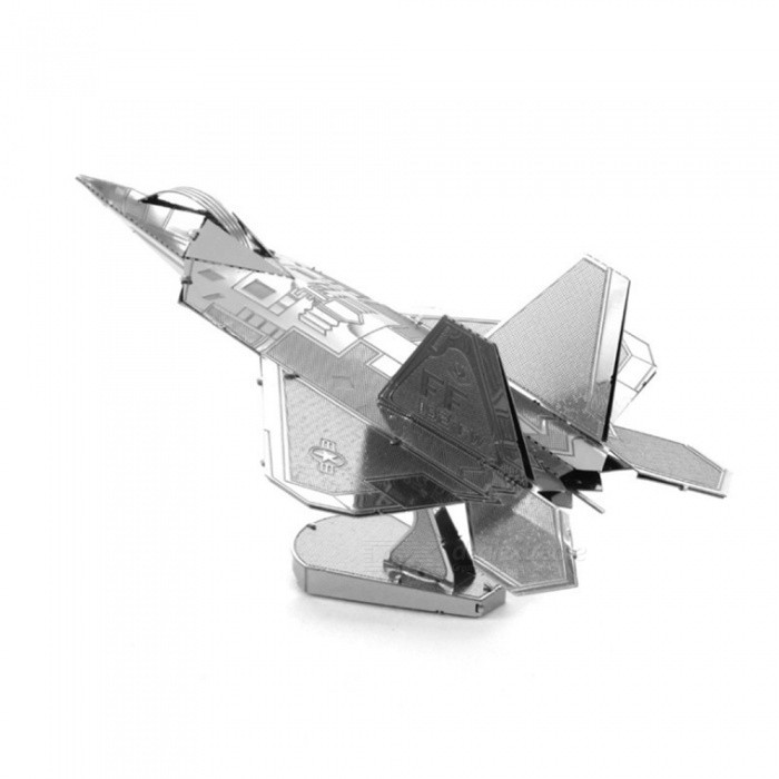 Buy DIY 3D Metal Model Kits Puzzle F22 Fighter Assembled Educational Toy - Silver with Litecoins with Free Shipping on Gipsybee.com