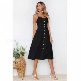 Womens-Sexy-Button-Sling-Solid-Color-Polyester-Long-Dress