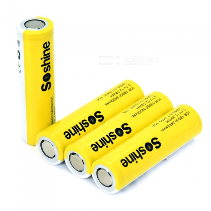 Soshine 18650 3 7V 3400mAh 3C Li-ion Recgargeable Batteries With Case (4  Pack )