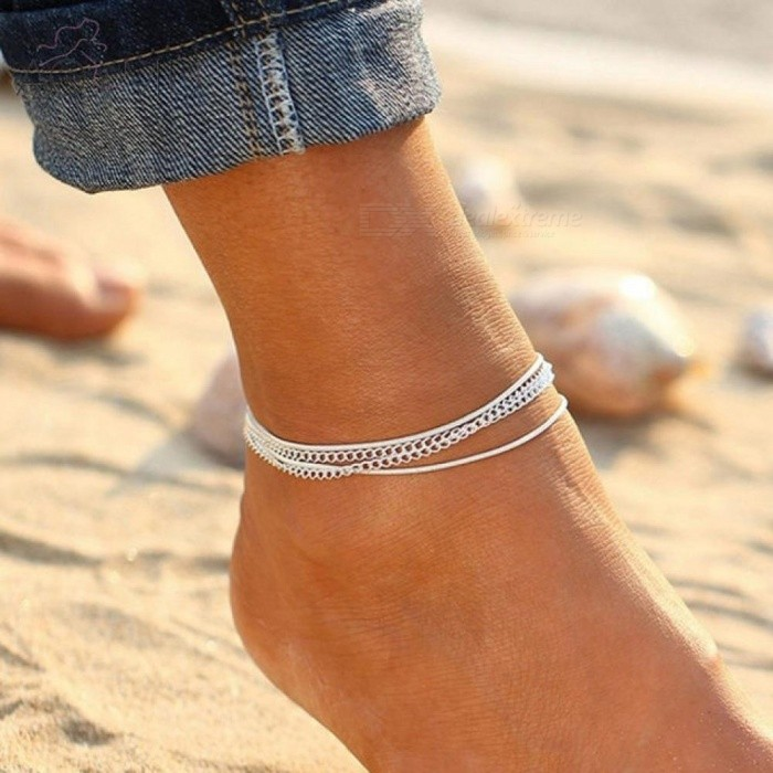 Buy Minimalism Multilayer Silver Anklets Women Ankle Bracelets Female Foot Chain Blue Beads Charm Beach Sandal Barefoot Ankle Bracelets with Litecoins with Free Shipping on Gipsybee.com