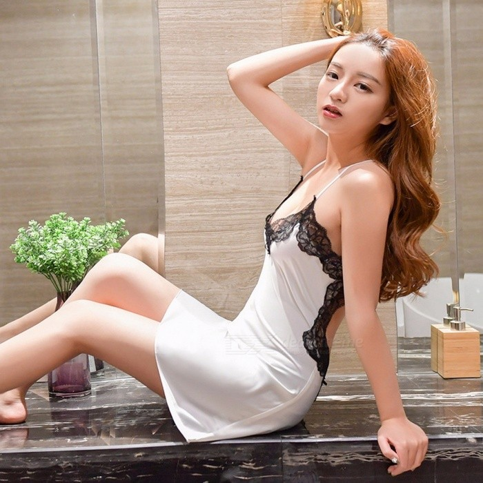 Sexy Sling Lingerie Dress Lace Backless Deep V-Neck Sleepwear Women Sexy Slim Pajamas Bedroom Sex Products Nightgown Champagne/XL
