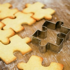 4pcs Stainless Steel Puzzle Cookie Cutter DIY Biscuit Dessert Mold Pastry Fondant Cake Sugarcraft Decorating Frame Cutter Tool Puzzle Cookie Cutter