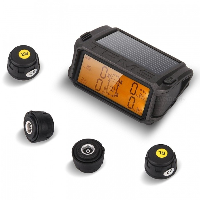 Infineon Wireless TPMS Tire Pressure Monitoring System Solar Powered Monitor with 4 External Sensors Pressure and Temperature