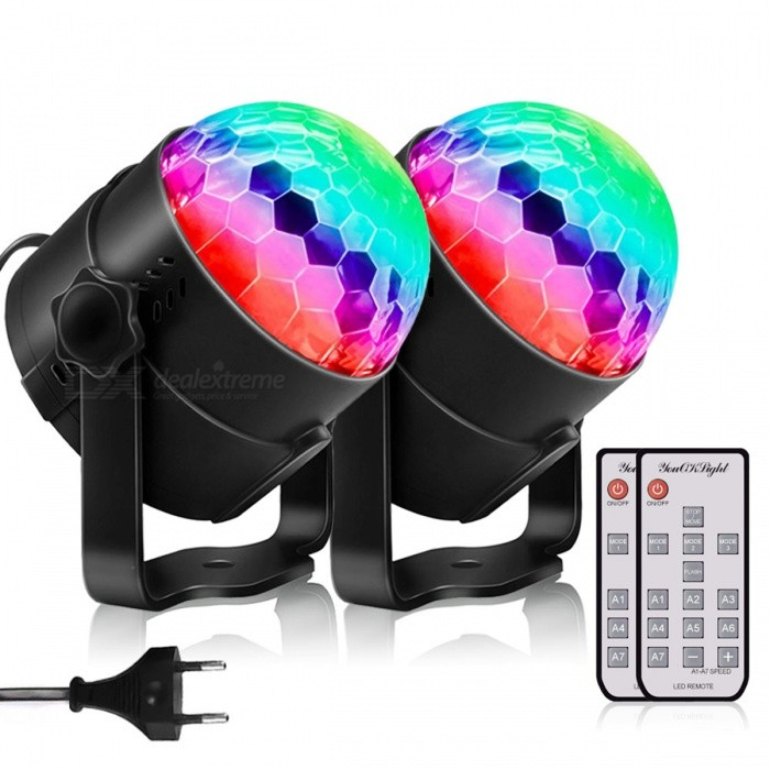 YouOKLight Sound Disco Lights with Remote Control Party Lighting Disco Ball, Speaker Strobe Rotating Lamp, US Plug, Pack of 2