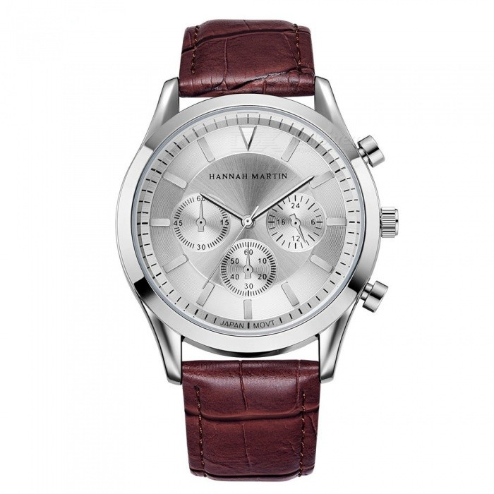 Buy Hannah Martin 303 Men's Quartz Japanese Movement IP Vacuum Plating Leather Strap 3 Decorative Dial 30M Waterproof Casual Watch with Litecoins with Free Shipping on Gipsybee.com