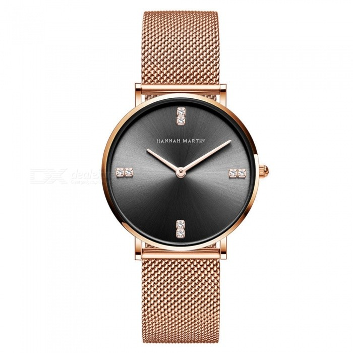 Hannah Martin 4Z New Woman Quartz Watch Japanese Movement Furnace Gold Plated Diamond Stainless Steel Strap 30m Waterproof Gold