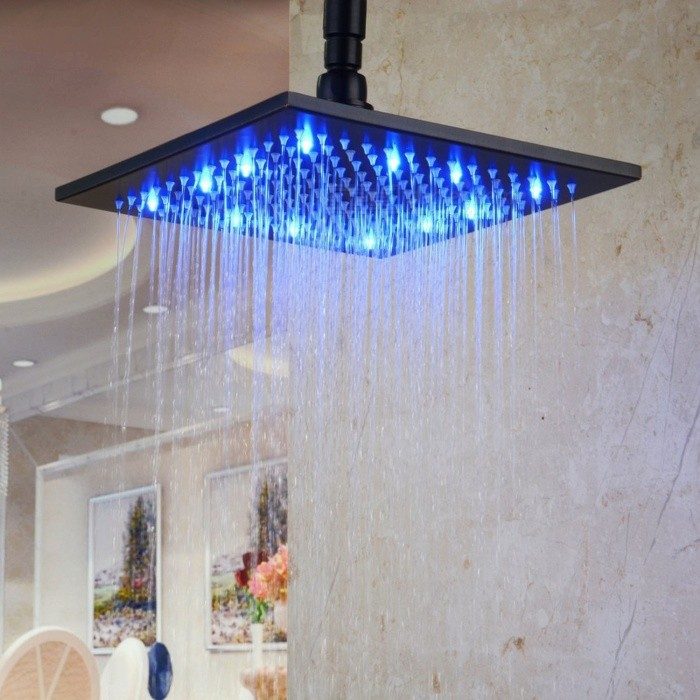 Buy 8 Inch Stainless Steel RGB LED Rain Shower Head - Black with Litecoins with Free Shipping on Gipsybee.com