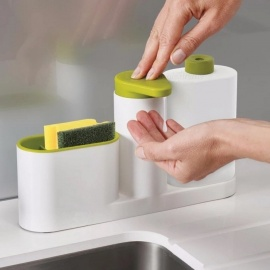 Multifunctional Washing Sponge Storage Sink Detergent Soap Dispenser Storage Rack Hand Sanitizer For Bottle Kitchen Use Army Green
