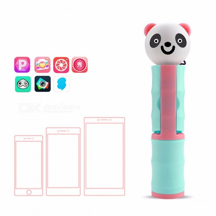 Cartoon Panda Style Minii Selfie Sticks Monopod Wired Self-Pole For IPHONE 6 6s Samsung Android Smartphones Dark Blue