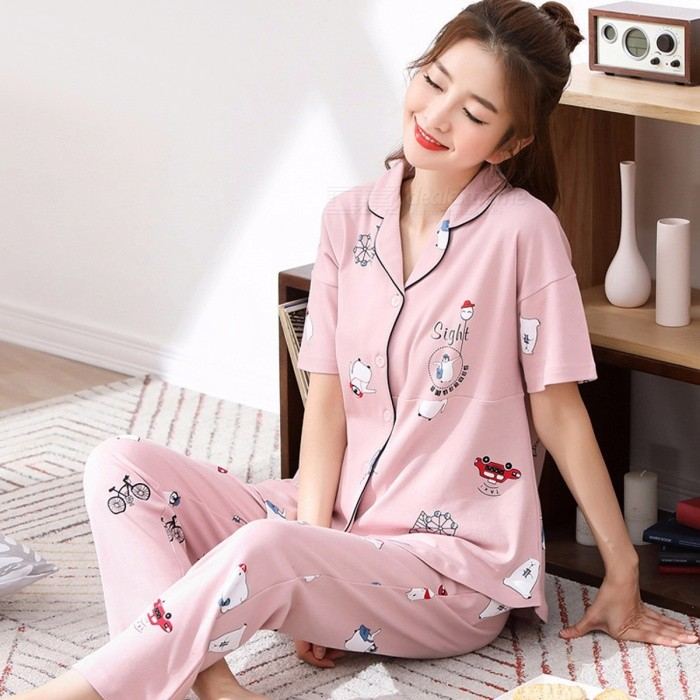 Summer Pyjamas Set Women\'s Cotton Nightgown Short Sleeves Top + Pants Set Pajamas Home Clothes Orange/XXL