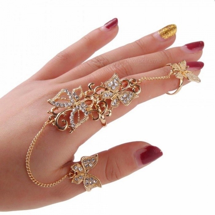 Rhinestone Flower Butterfly Full Finger Rings for Women Gold Chian Link  Double Armor Ring ring sizer ... a35aa1a9a1