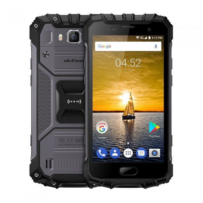 Ulefone Armor 2 Android 7.0 Waterproof IP68 Helio MTK P25 Global Version Rugged 4G Phone w/ 6GB RAM 64GB ROM - Black Grey