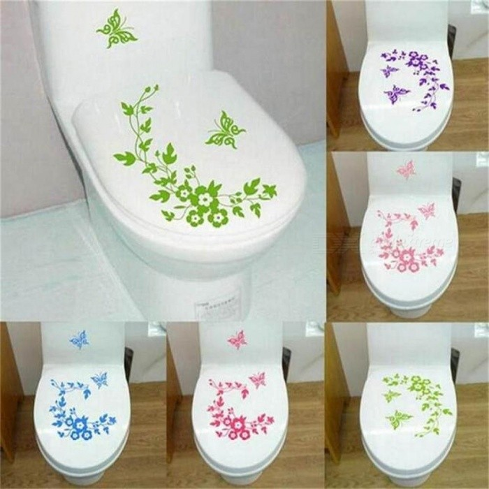 Decorative Butterfly Flower Vine Bathroom Vinyl Wall Stickers Home Decoration Wall Decals for Toilet  Sticker Purple for sale in Bitcoin, Litecoin, Ethereum, Bitcoin Cash with the best price and Free Shipping on Gipsybee.com