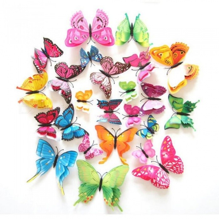 Buy 12Pcs 3D Double Layer Butterfly Wall Sticker on The Wall for Home Decor DIY Butterflies Fridge Magnet Stickers Room Decoration with Litecoins with Free Shipping on Gipsybee.com