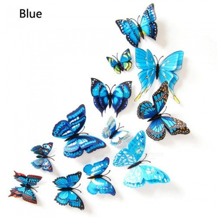 12pcs 3D DIY Wall Sticker Stickers Butterfly Home Decor Room Decorations 3 color