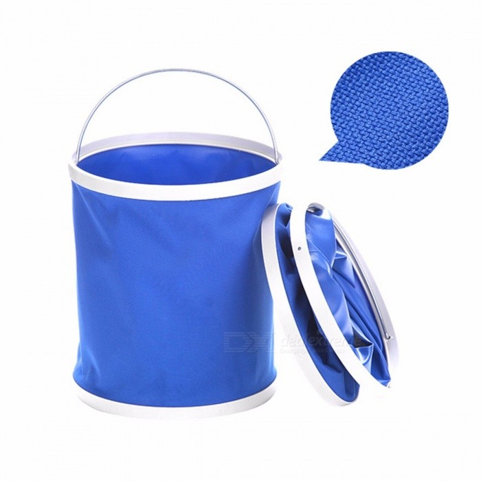 11L Portable Foldable Watering Bucket Collapsible Fishing Bucket Pail Oxford Car Washing Water Container Colorless