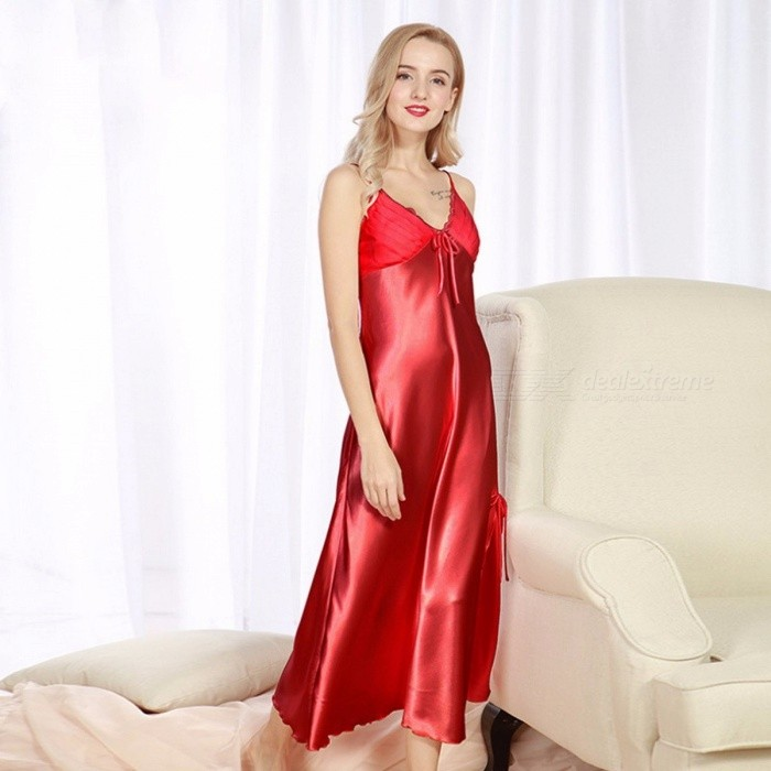Women Silk Night Dress Spring Summer Ladies Long Section Slit Sexy Straps Nightdress Sleepwear Slip Dress Luxury Noble Red/XXXL
