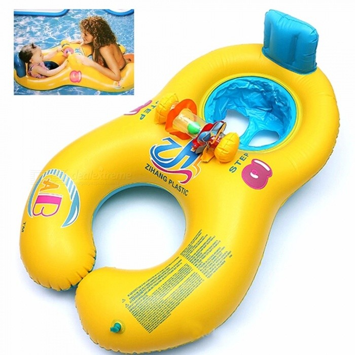 Safe Soft Inflatable Mother Baby Swim Float Ring Kids Seat Double Person Swimming Pool Swim Ring Yellow