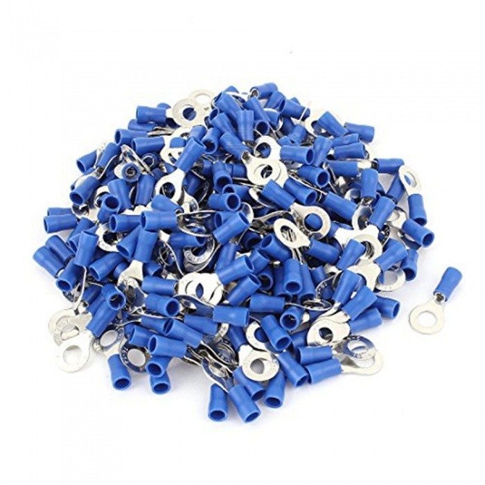 BTOOMET-RV2-6-Pre-Insulated-Ring-Terminals-with-1000-Piece-for-14-Stud-and-AWG-16-14-Wire-Blue