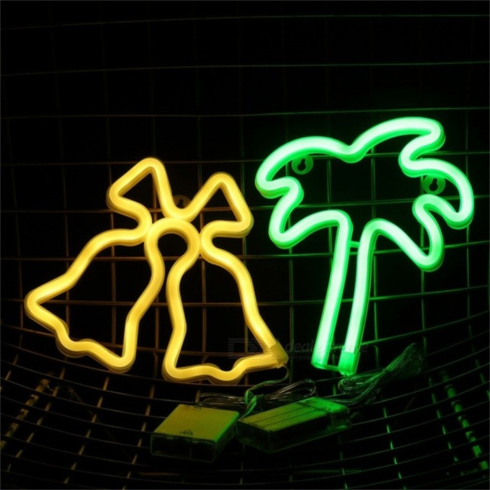 Bell Style Neon Light Sign Christmas Decorations For Home Decor Neon Party Supplies Decorative Light Warm White/Clear/0-5W