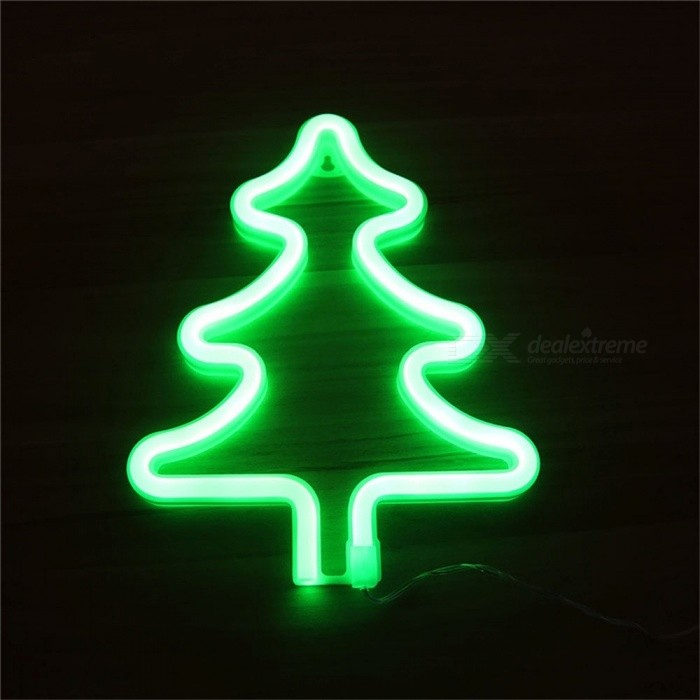 Creative Christmas Tree Neon Night Light Lamp Strip Pink Operated By Battery/USB Wall Hanging Home Wedding Decor Neon Green/Clear/0-5W