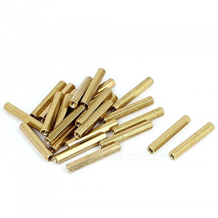 BTOOMET-M3-x-30mm-Female-Threaded-Brass-Hex-Standoff-Pillar-Spacer-Nut-50pcs