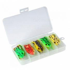 ESAMACT-5pcsbox-Frog-Fishing-Lures-Kit-Snakehead-Lure-Topwater-Floating-Ray-Frog-Artificial-Bait-Crank-Bait-Hook-Tackle-Bait