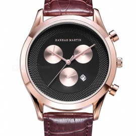 Hannah-Martin-302-Mens-Quartz-Japanese-movement-Leather-Strap-3-Decorative-Dial-30M-Waterproof-Casual-Watch-Brown-2b-Rose-Golden
