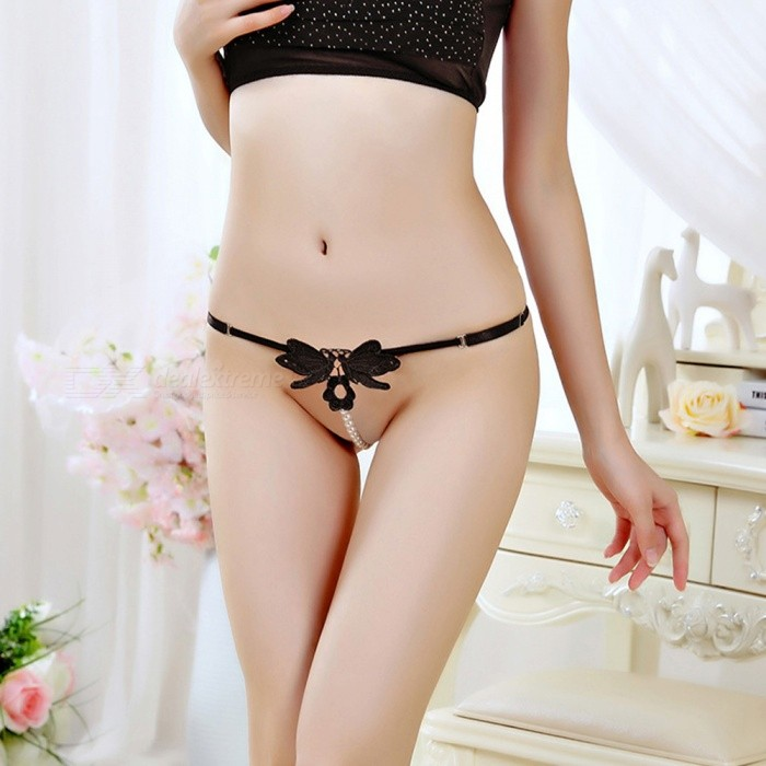 7e927dd21a63 Style Women Crotchless Butterfly With Pearl Sexy Panties Tangas ...