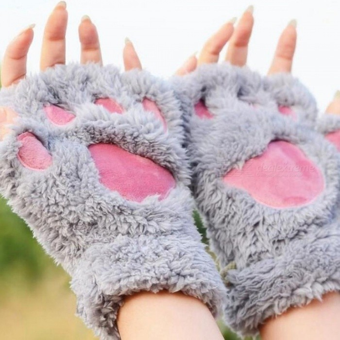 Ladies Winter Fingerless Gloves Fluffy Bear Cat Plush Paw Claw Half Finger Glove Half Cover Women Female Gloves Mitten Gray