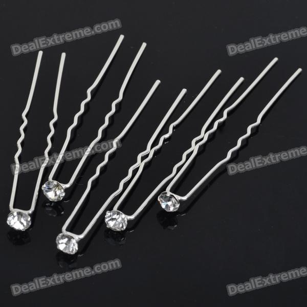 Bridal Wedding Proms Crystal Metal Hair Pin Clips 5 Pack
