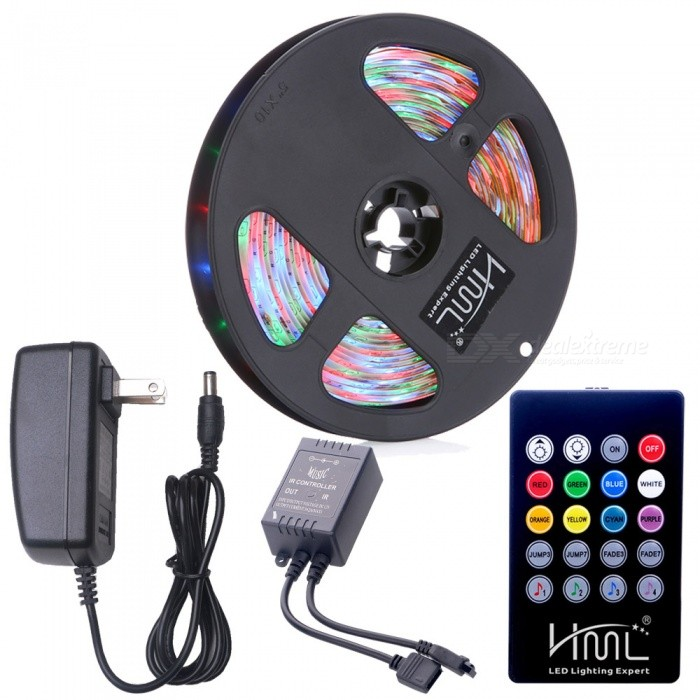 HML 5M 24W Waterproof RGB SMD2835 300 LED Strip Lights with 20-Key Voice Music Remote Control + Adapter (US Plug)