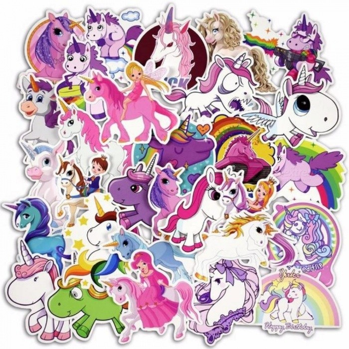 30 Pcs Colorful Cute Unicorn Stickers for Laptop Car Styling Phone Luggage Bike Motorcycle Mixed Cartoon PVC Waterproof Sticker Cute Unicorn Stickers