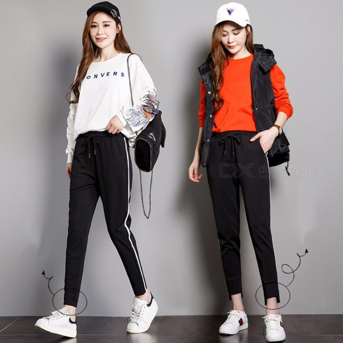 Female Leggings Summer Leisure Sports Korean White Side Stripe All-Match Loose Ninth Pants Harem Pants Multi/XXL