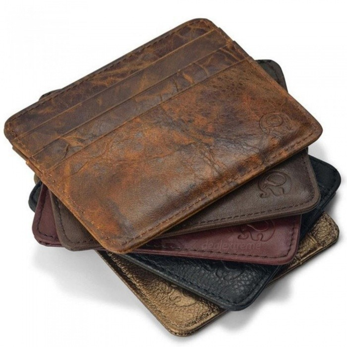 Genuine Leather Magic Wallet Credit Cart Wallet Mini Slim Wallet Card & ID Holders Man Women Business Credit Card Holder Brown