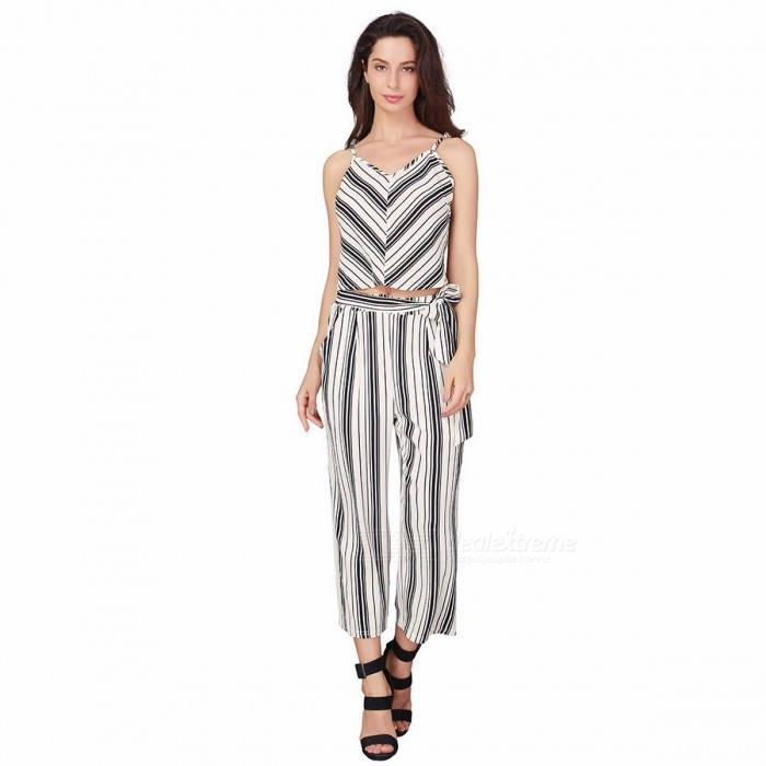 Summer Casual Women\'s Sexy V-neck Spaghetti Strap Slim T-shirt  Crop Top + Striped Ninth Pants Suit Female Clothing Black/L