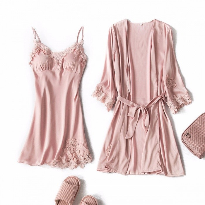 Simulation Silk Pajamas Sexy Lingerie Female Spring And Summer Women  Two-Piece Strap Dress + d308b74b2f5d