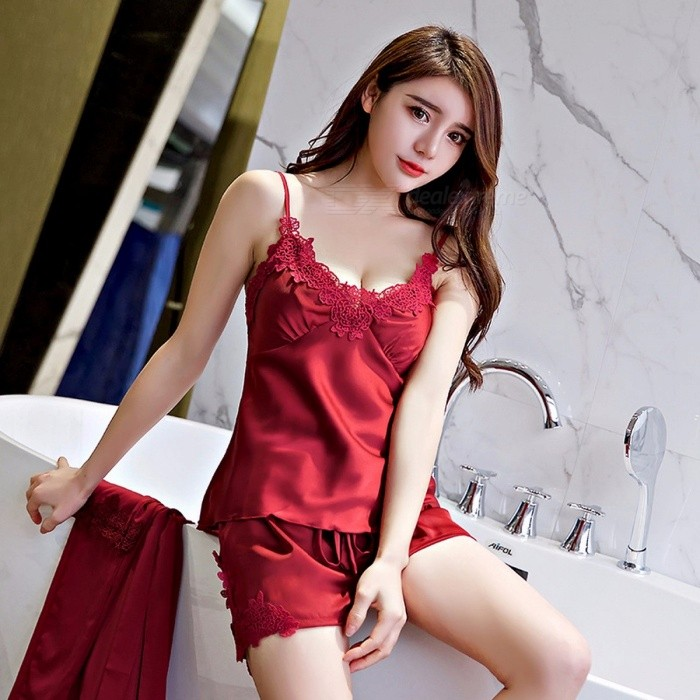 8278bdcc6d Sling Sexy Pajama Sets Comfortable Pajamas For Women Fashion Solid Women  Pajamas Sexy V-Neck Strap Tank Top + Shorts Red L - Worldwide Free Shipping  - DX