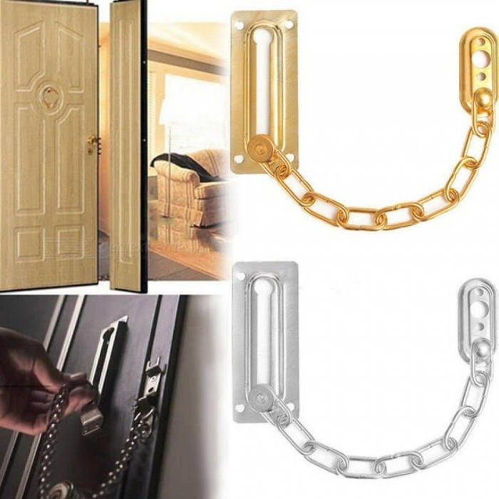 Chrome Chain Door Safety Guard Latch Security Peep Bolt Locks Cabinet Latches DIY Home Tools Door Chain Lock Silver