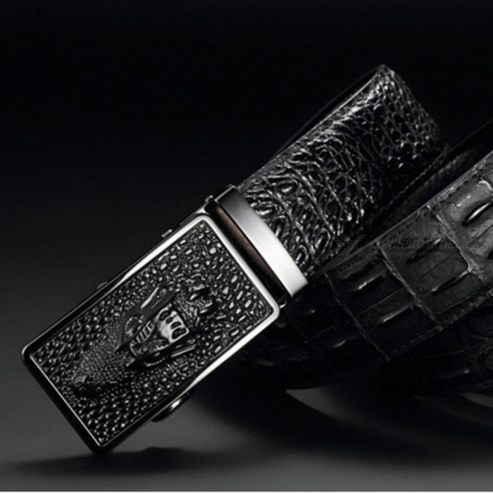 Buy Luxury Cow Leather Belts for Men Good Alligator Pattern Automatic Buckle Men's Belt  Original Brand   115cm/coffee with Litecoins with Free Shipping on Gipsybee.com