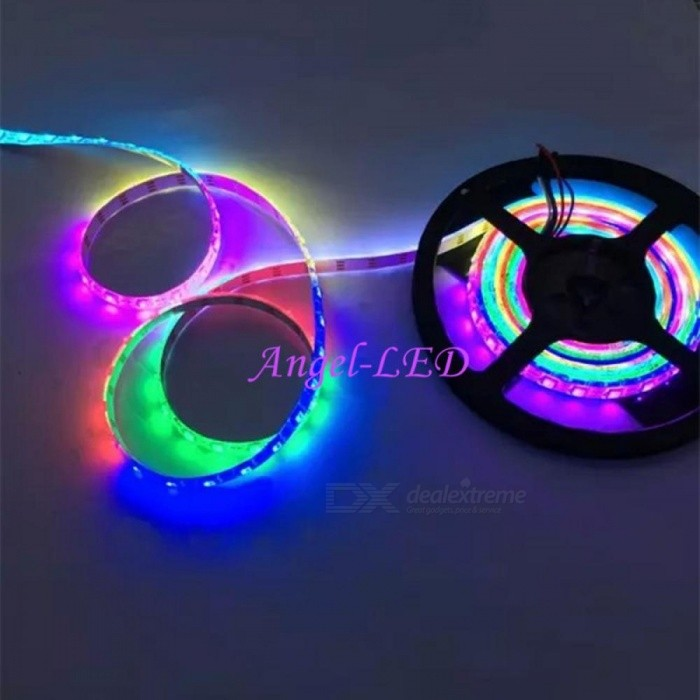 5m/roll DC5V WS2812B 60leds/m 5050 RGB Dream Color LED Strip Light 5m 60led black Changeable