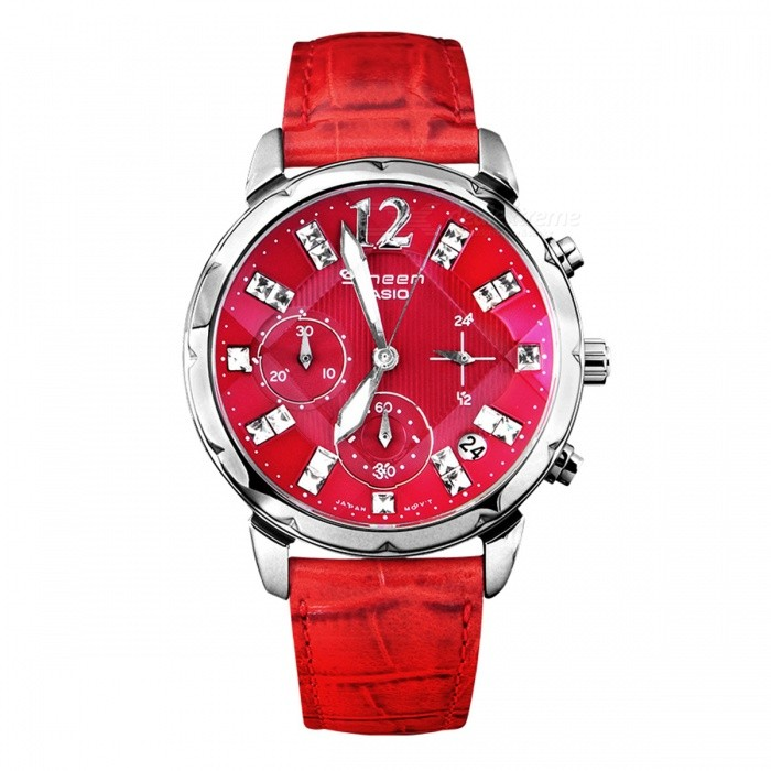 Buy Casio SHN-5010L-4A Sheen Swarovski Elements Chronograph Watch-Red with Litecoins with Free Shipping on Gipsybee.com
