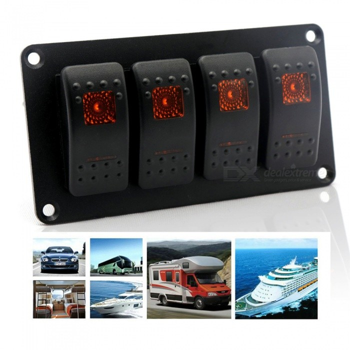 Car Modification 4 Sets Of Switch Straight Conversion Orange Double Light 5P ON-OFF Switch