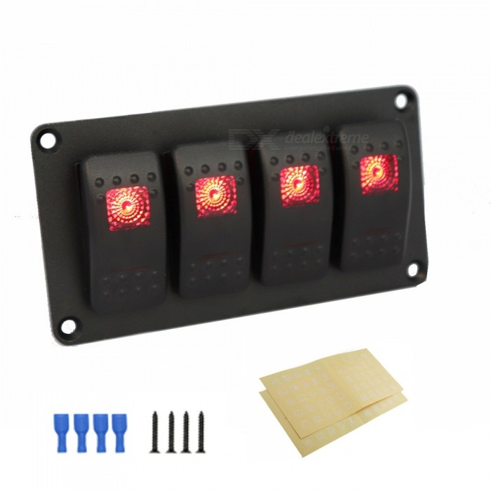 Car Modification 4 Sets Of Switch Straight Line Modification Red Double Light 5P ON-OFF Switch