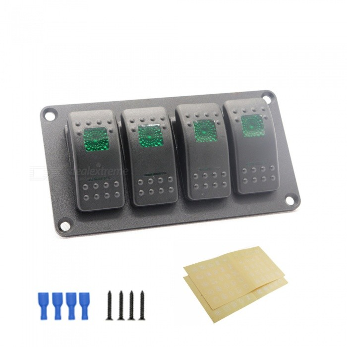 Car Modification 4 Sets Of Switch Straight Line Modification Green Double Light 5P ON-OFF Switch