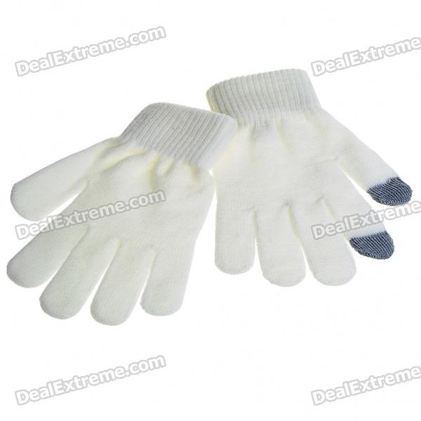 Universal Touch Screen Winter Gloves for Iphone/Ipad - White