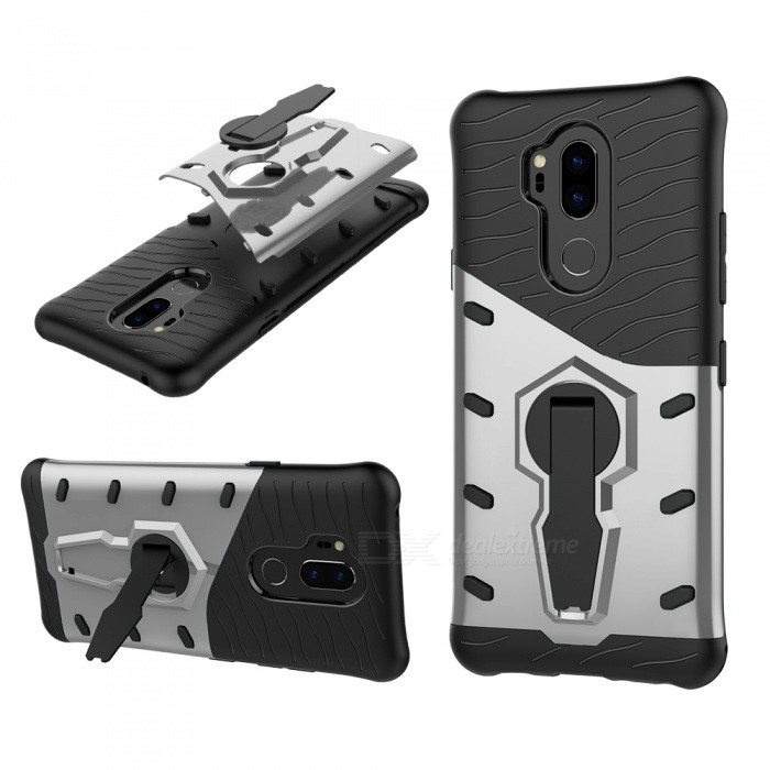 TPU + PC Case w/ Holder Stand for LG G7 - Silver for sale in Bitcoin, Litecoin, Ethereum, Bitcoin Cash with the best price and Free Shipping on Gipsybee.com